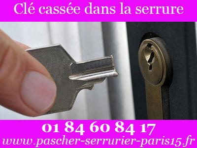 Ouverture de porte Paris 15 : clé cassée dans la serrure