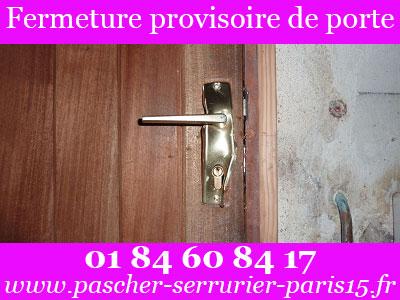 Fermeture provisoire de porte sur Paris 15