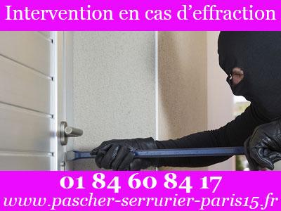 Service d'urgence serrurerie Paris 15 disponible en cas d'effraction